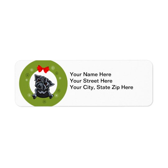 Black Pug Christmas Return Address Label