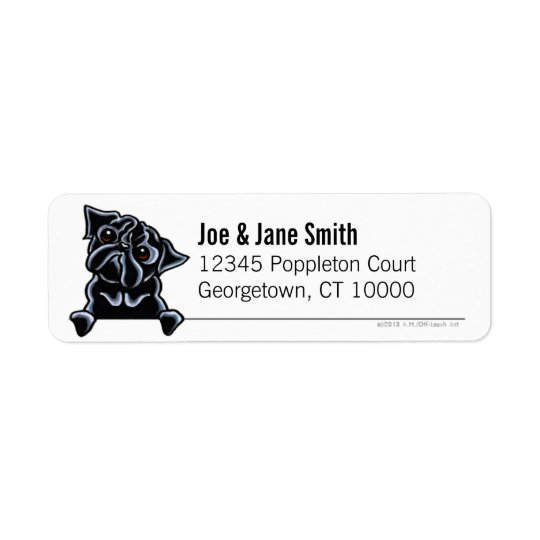 Black Pug Clean & Simple New Gothic Return Address Label