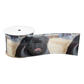 """Black pug dog 3"""" satin ribbon"""