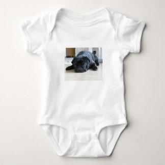 black pug flat baby bodysuit