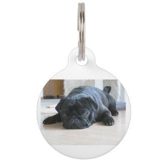black pug flat pet ID tag