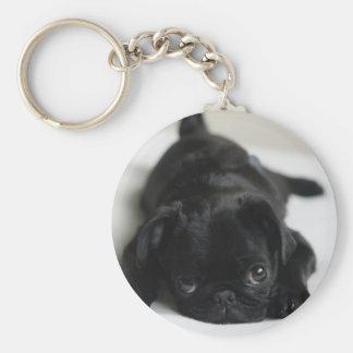 Black Pug Puppy Basic Round Button Key Ring
