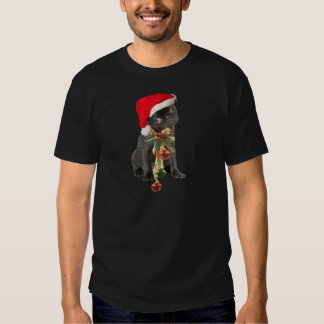 Black Pug Puppy Christmas portrait Tees