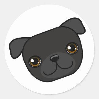 Black Pug Round Sticker