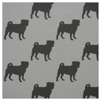 Black Pug Silhouette - Simple Vector Design Fabric