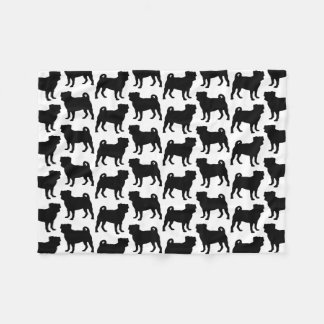 Black Pug Silhouette - Simple Vector Design Fleece Blanket