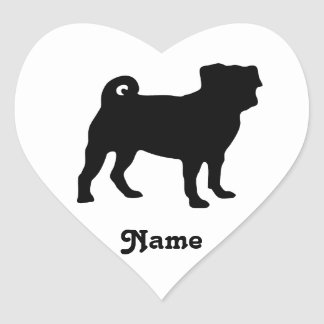 Black Pug Silhouette - Simple Vector Design Heart Sticker