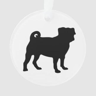 Black Pug Silhouette - Simple Vector Design Ornament