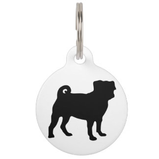 Black Pug Silhouette - Simple Vector Design Pet ID Tag