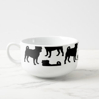 Black Pug Silhouette - Simple Vector Design Soup Mug