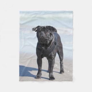 Black Pug Standing On The Beach Fleece Blanket