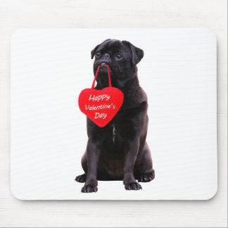 Black Pug Wishing Happy Valentine's Day Mouse Pad