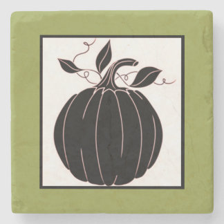 """Black Pumpkin_Gourd_Olive-Coaster"" Stone Coaster"
