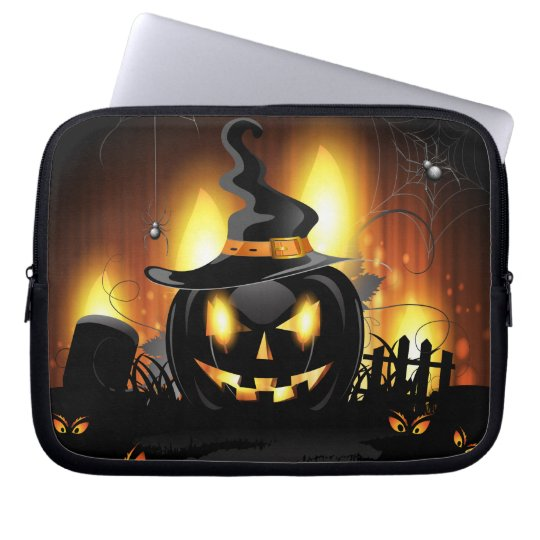 Black Pumpkin Halloween Laptop Sleeve