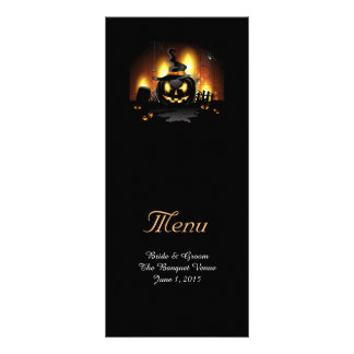 Black Pumpkin Wedding Menu Cards Personalised Rack Card
