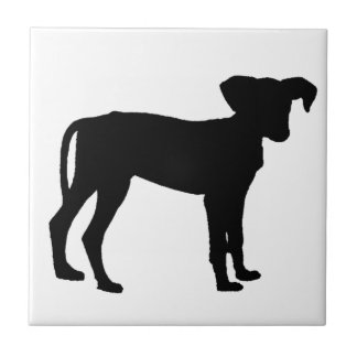 Black puppies small square tile