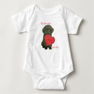 Black Puppy All You Need is Love Baby Shirt