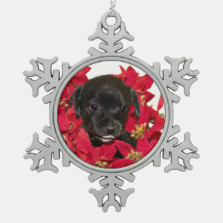 Black puppy Christmas Snowflake Pewter Christmas Ornament