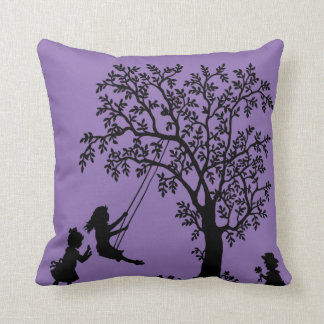 Black purple Abstract Tree kids playing pillow Cushion
