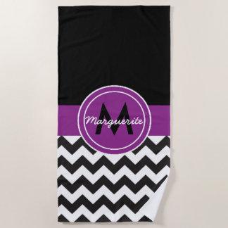 Black Purple Chevron Beach Towel