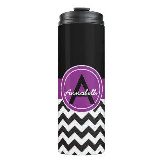Black Purple Chevron Thermal Tumbler