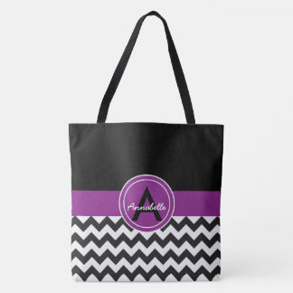 Black Purple Chevron Tote Bag