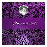 BLACK & PURPLE DAMASK GEM STONE MONOGRAM  ice 13cm X 13cm Square Invitation Card