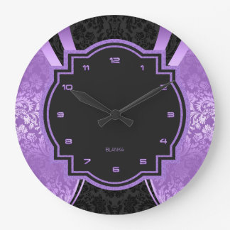 Black & Purple Damasks Geometric Design Clock