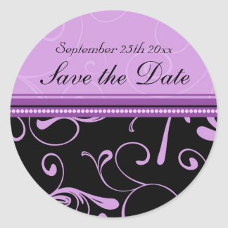Black & Purple Floral Save the Date Envelope Seals Round Sticker