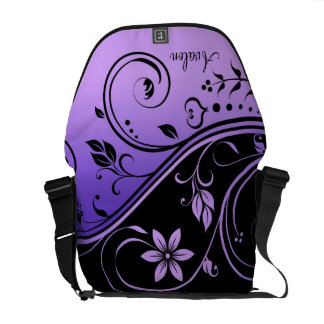 Black & Purple Floral Scroll Messenger Bag