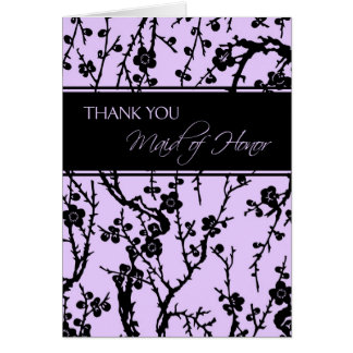 Black & Purple Floral Thank You Maid of Honour Car