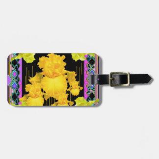 Black-Purple-Gold Iris Garden  Pattern Gifts Bag Tag