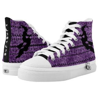 Black/Purple Halloween Witch Fun Font Art Pattern High Tops