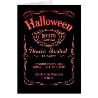 Black & Purple Label Halloween Invitations Greeting Cards