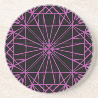 Black & Purple/Magenta Geometric Symmetry Coaster