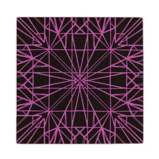 Black & Purple/Magenta Geometric Symmetry Wood Coaster