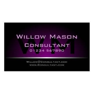 Black Purple Monogram Professional - Business Card