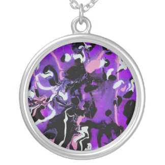 Black,Purple,Pink and White Design - Necklace