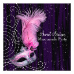 Black Purple Pink Sweet 16 Masquerade Party Personalised Announcement