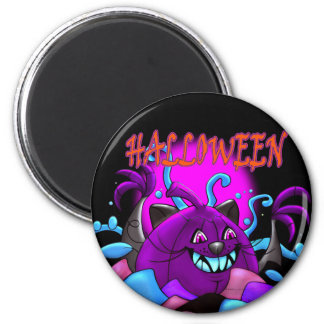 BLACK PURPLE PUMPKIN HALLOWEEN MONSTER MAGNET