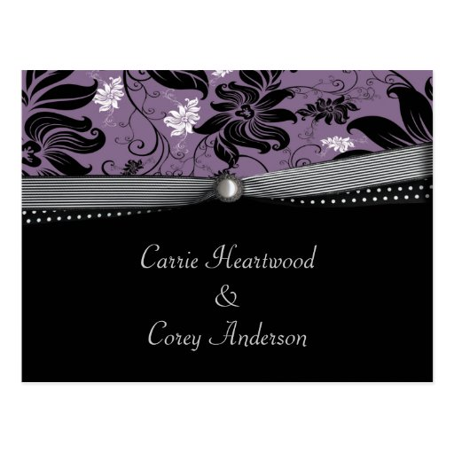Black Purple Silver Save The Date Post Card