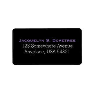 Black Purple Simple Plain Address Labels