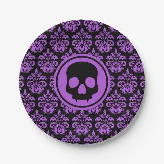 Black purple skull paper plate