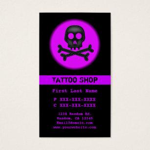Tattoo star business cards business card printing zazzle black purple skull tattoo custom business cards reheart Choice Image
