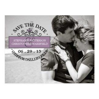 Black | Purple Stamp Save The Date Postcard