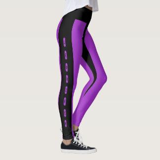 Black Purple Stripes Pattern Custom Name Jennifer Leggings