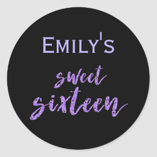 Black Purple Sweet 16 with Name Classic Round Sticker