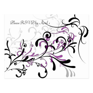 Black Purple Swirls RSVP Postcard