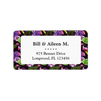 Black purple tropical flora watercolor pattern address label