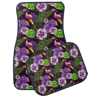 Black purple tropical flora watercolor pattern car mat